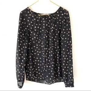 Loft Black Sheer Blouse with Flowers